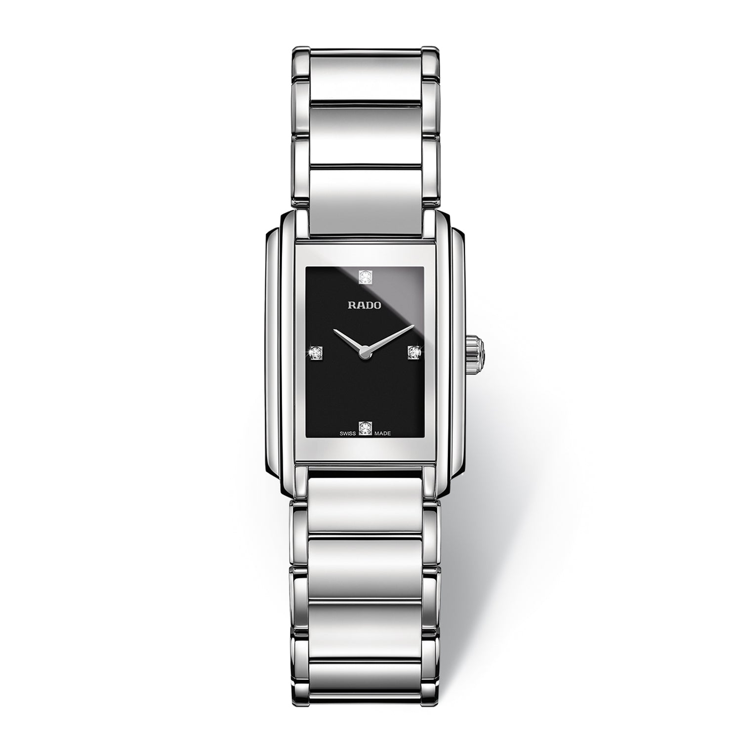 Rado Integral S watch, Stainless steel bracelet with Black dial