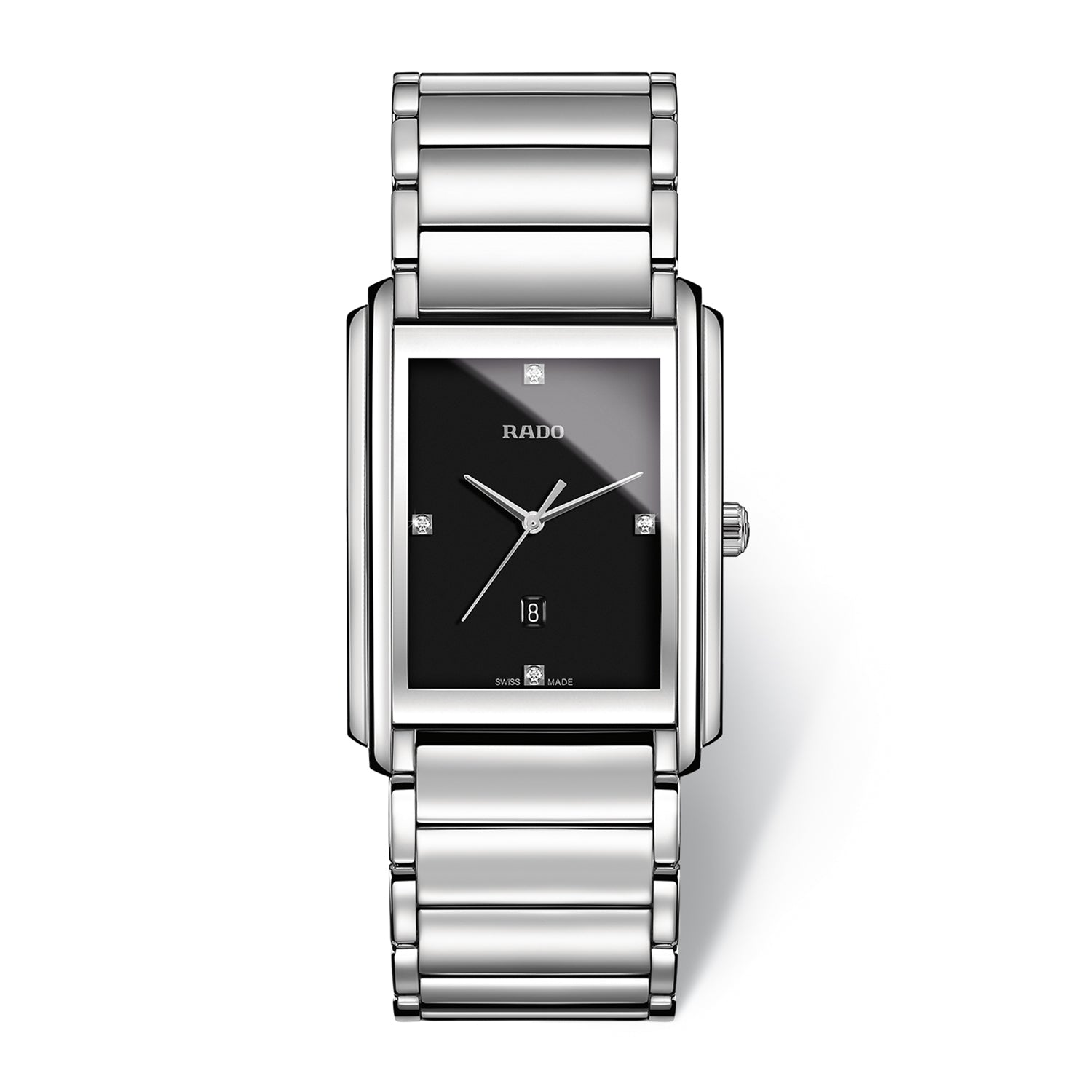 Rado Integral L watch, Stainless steel bracelet with Black dial