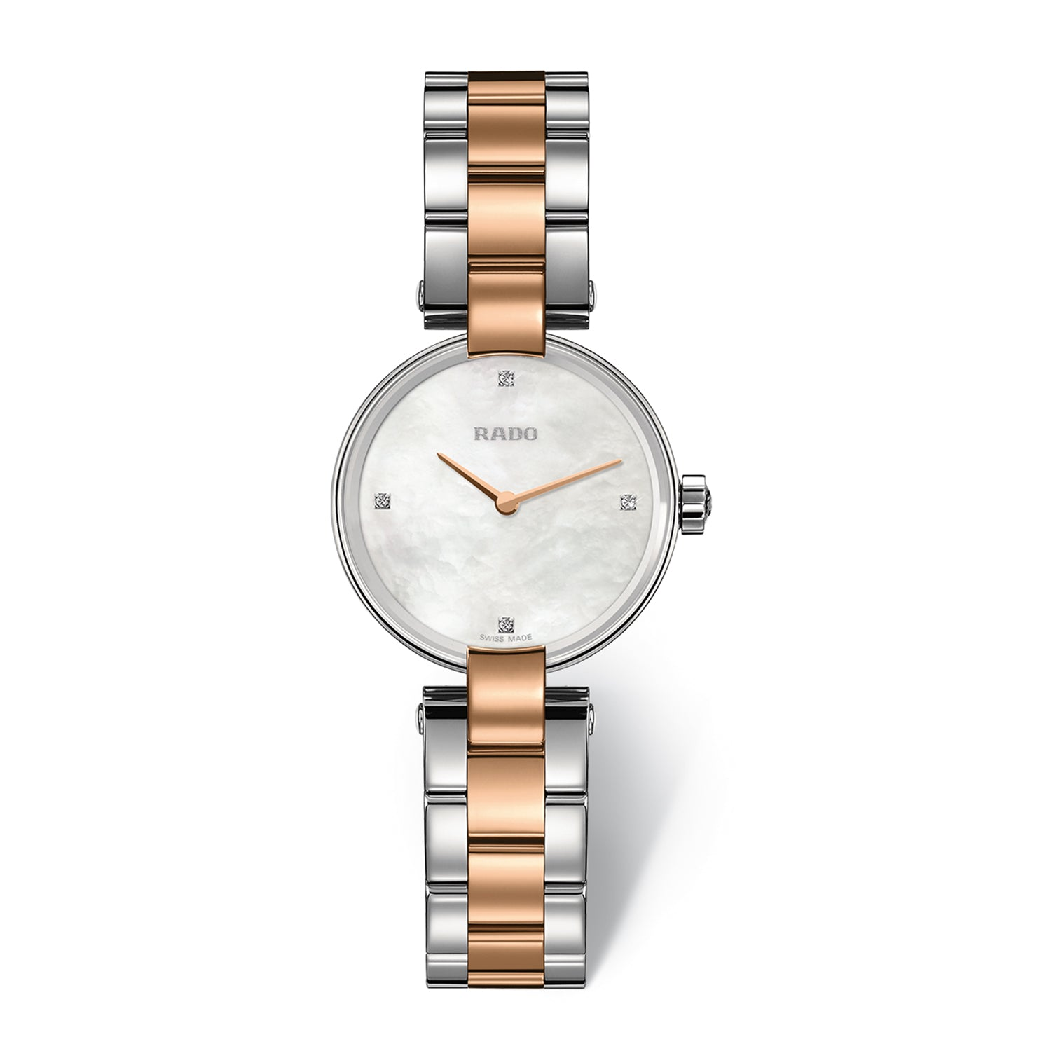 Rado Coupole S watch, Rose PVD with Stainless steel bracelet, Mother of Pearl dial