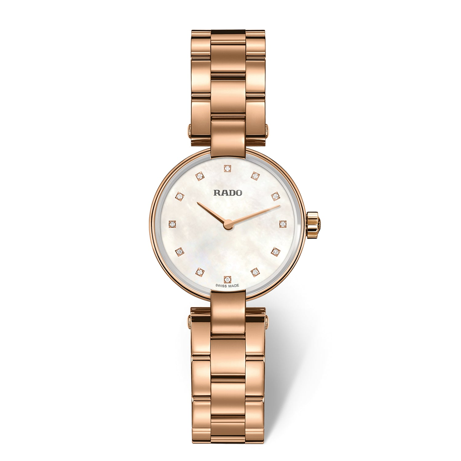Rado Coupole S watch, Rose PVD, 12 diamond Indicies, Mother of Pearl dial