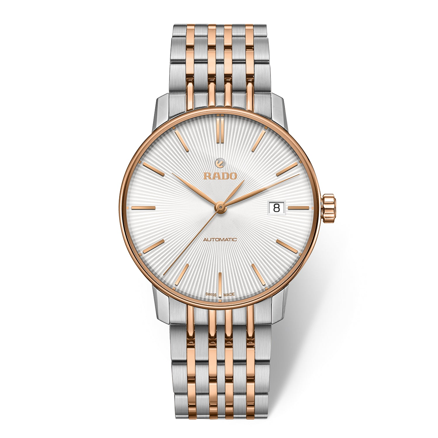 Rado Coupole Classic L watch with 9-Link Stainless steel bracelet and rose PVD, champagne dial