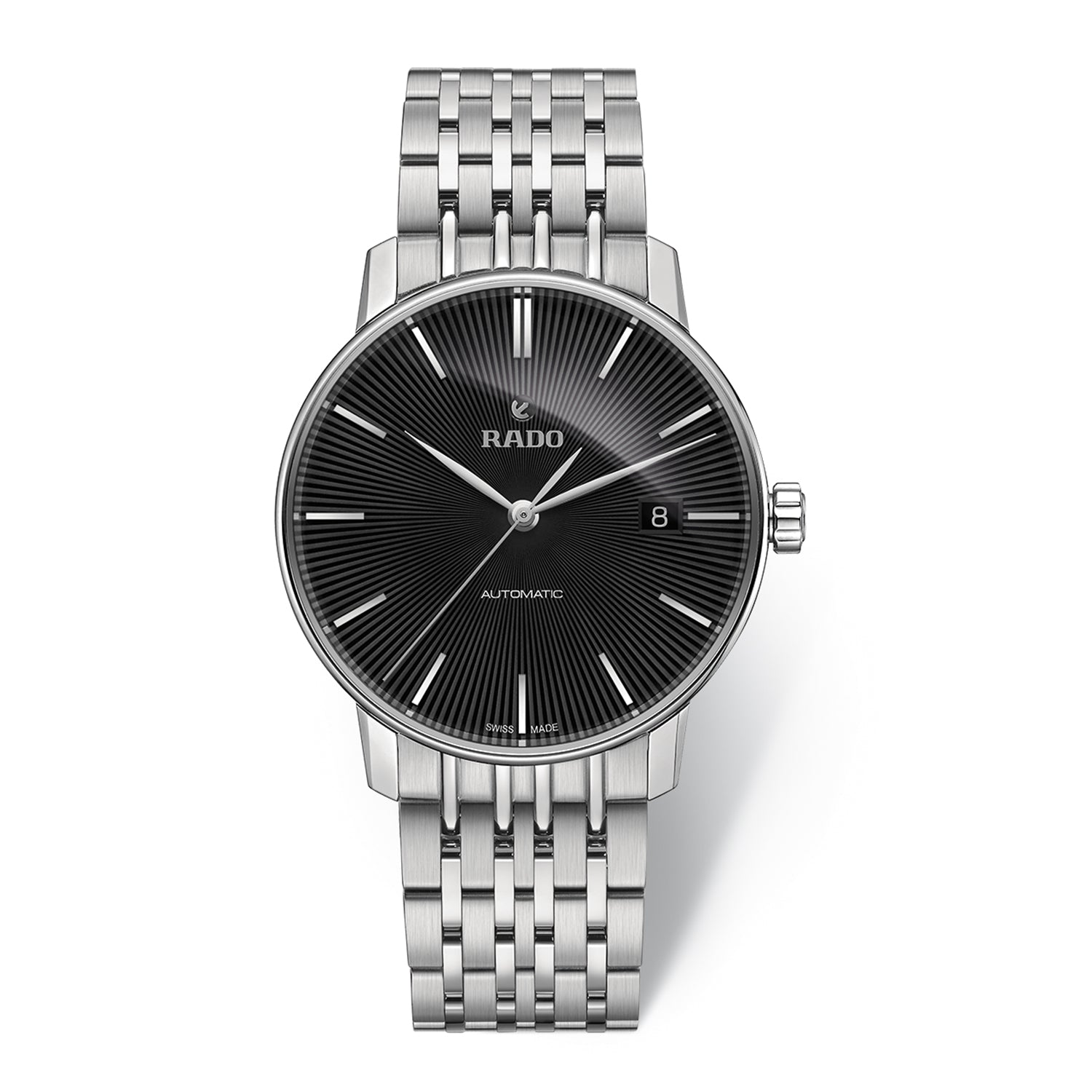 Rado Coupole Classic L watch with 9-Link Stainless steel bracelet, black dial