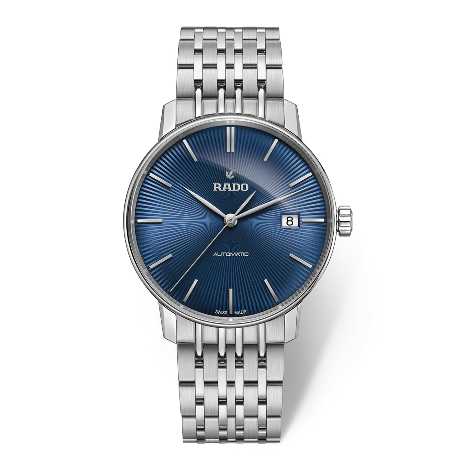 Rado Coupole Classic L watch with 9-Link Stainless steel bracelet, blue dial