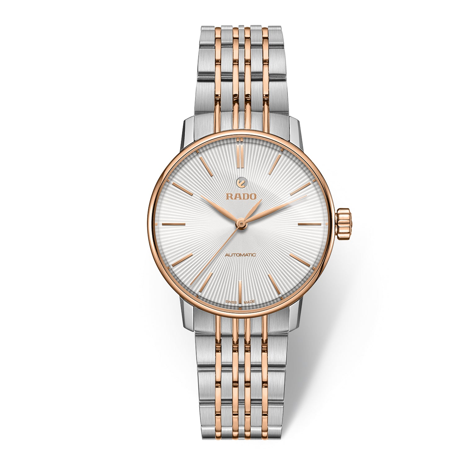 Rado Coupole Classic S watch with 9-Link Stainless steel bracelet and rose PVD