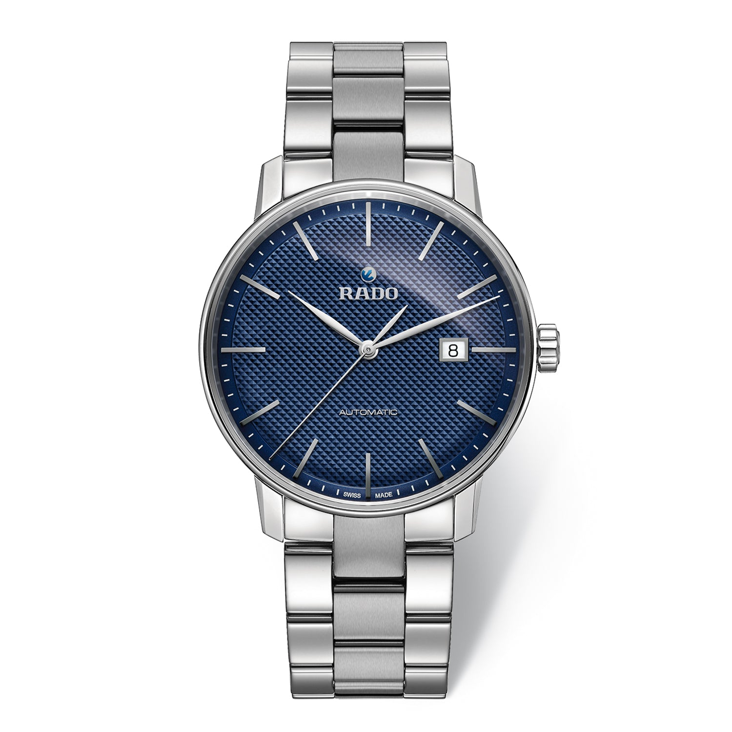 Rado Coupole Classic XL watch with 3-Link stainless steel bracelet, blue dial