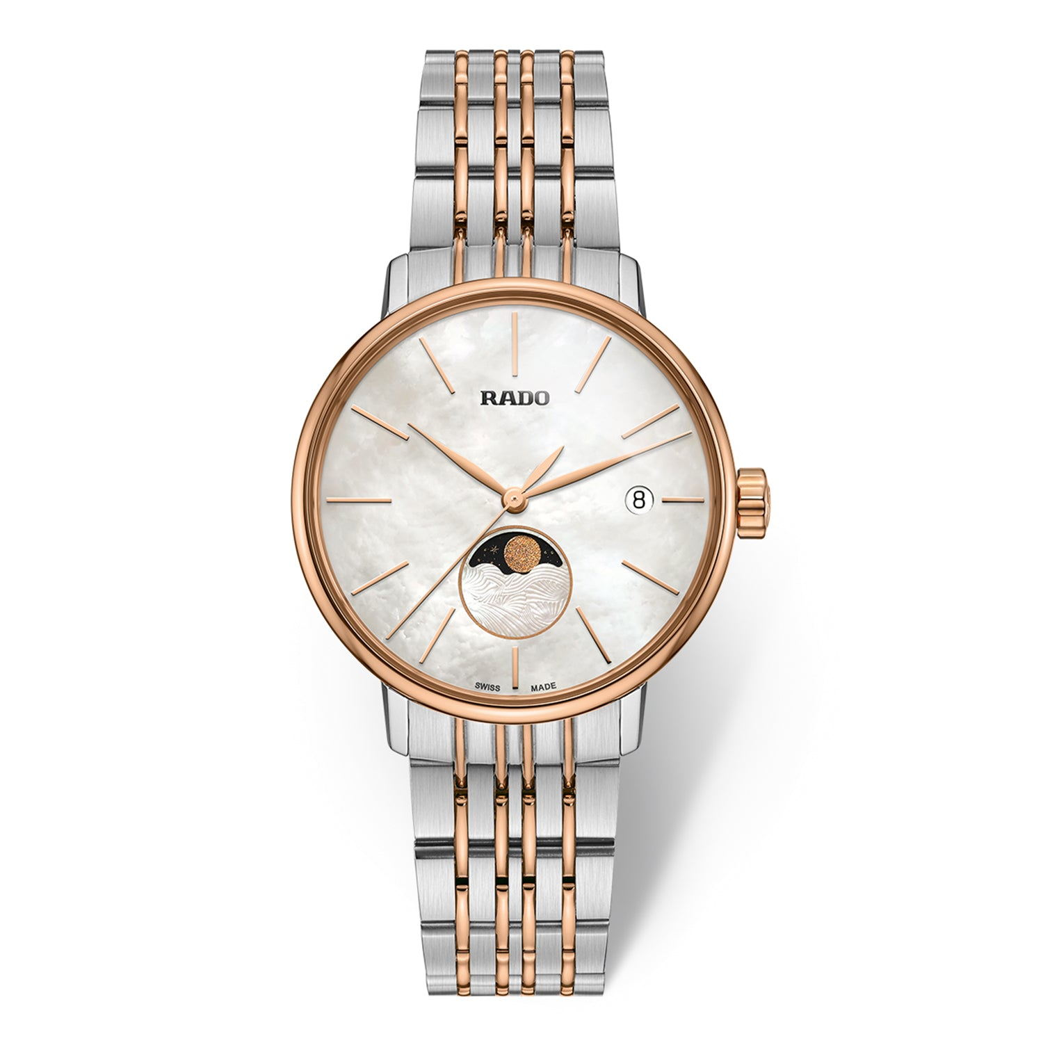 Rado Coupole Classic S watch with 9-Link Stainless steel bracelet, Mother of Pearl dial with Moonphase