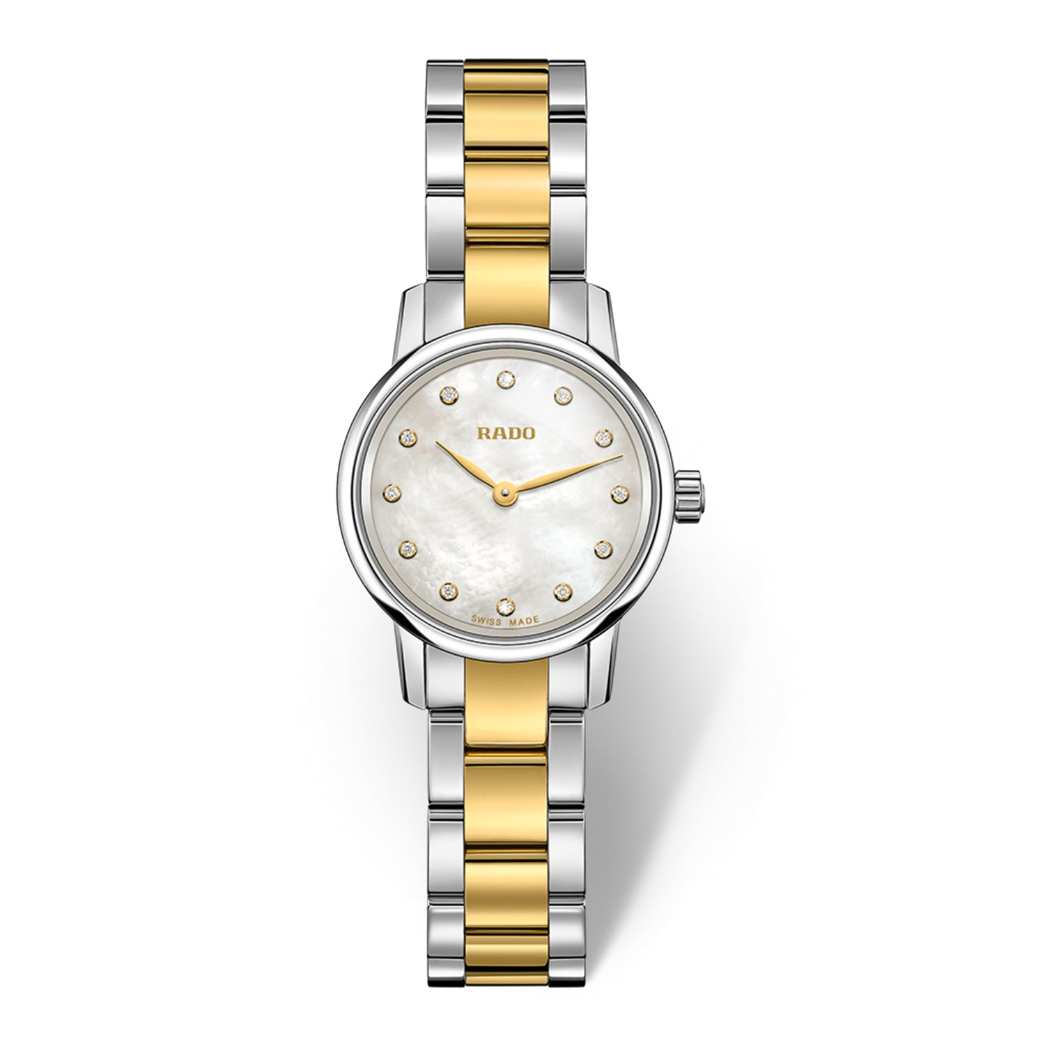 Rado Coupole Classic XS watch with bi-colour yellow bracelet, Mother of Pearl dial and 4 diamonds