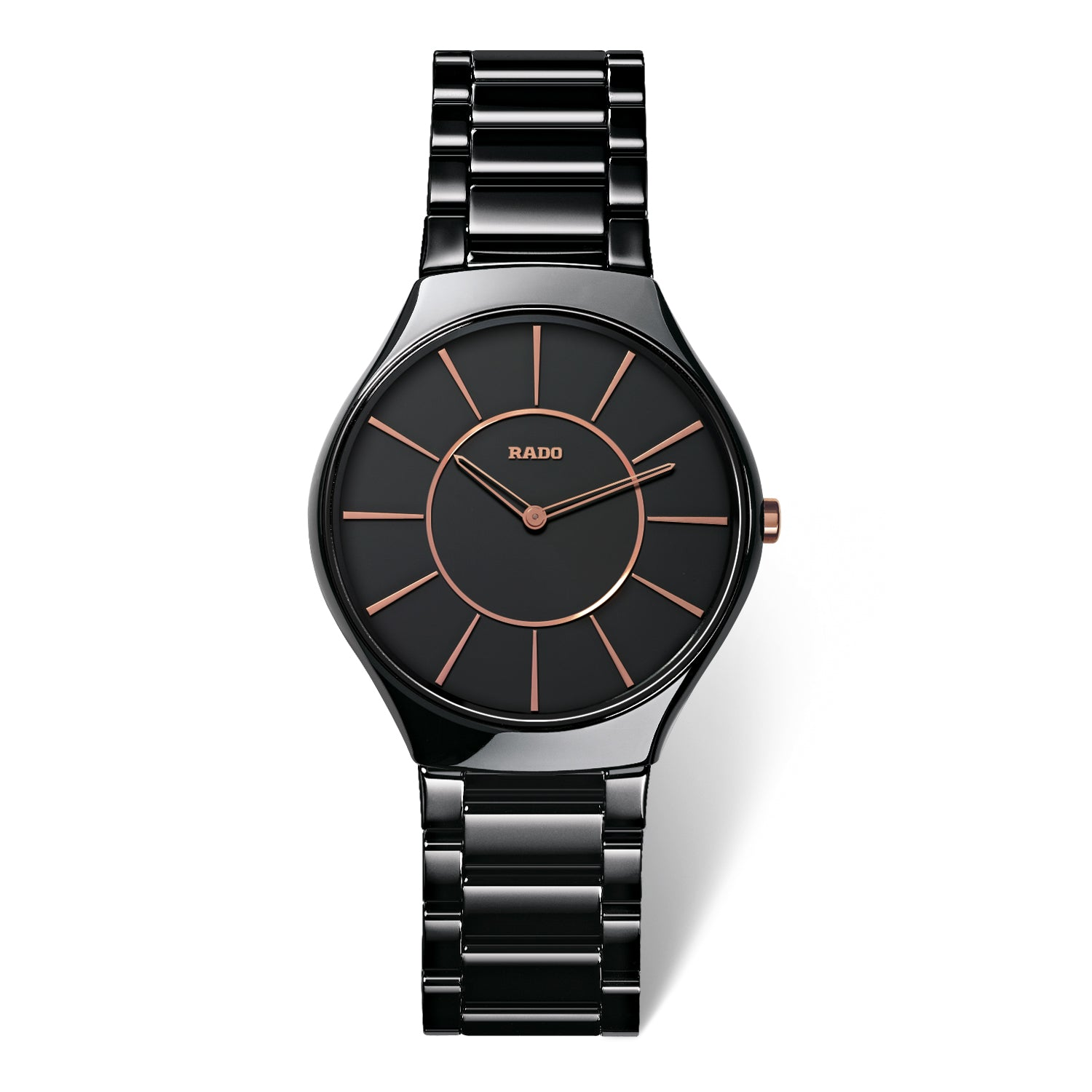 Rado True Thinline L watch, Black High-Tech Ceramic with Gold markers