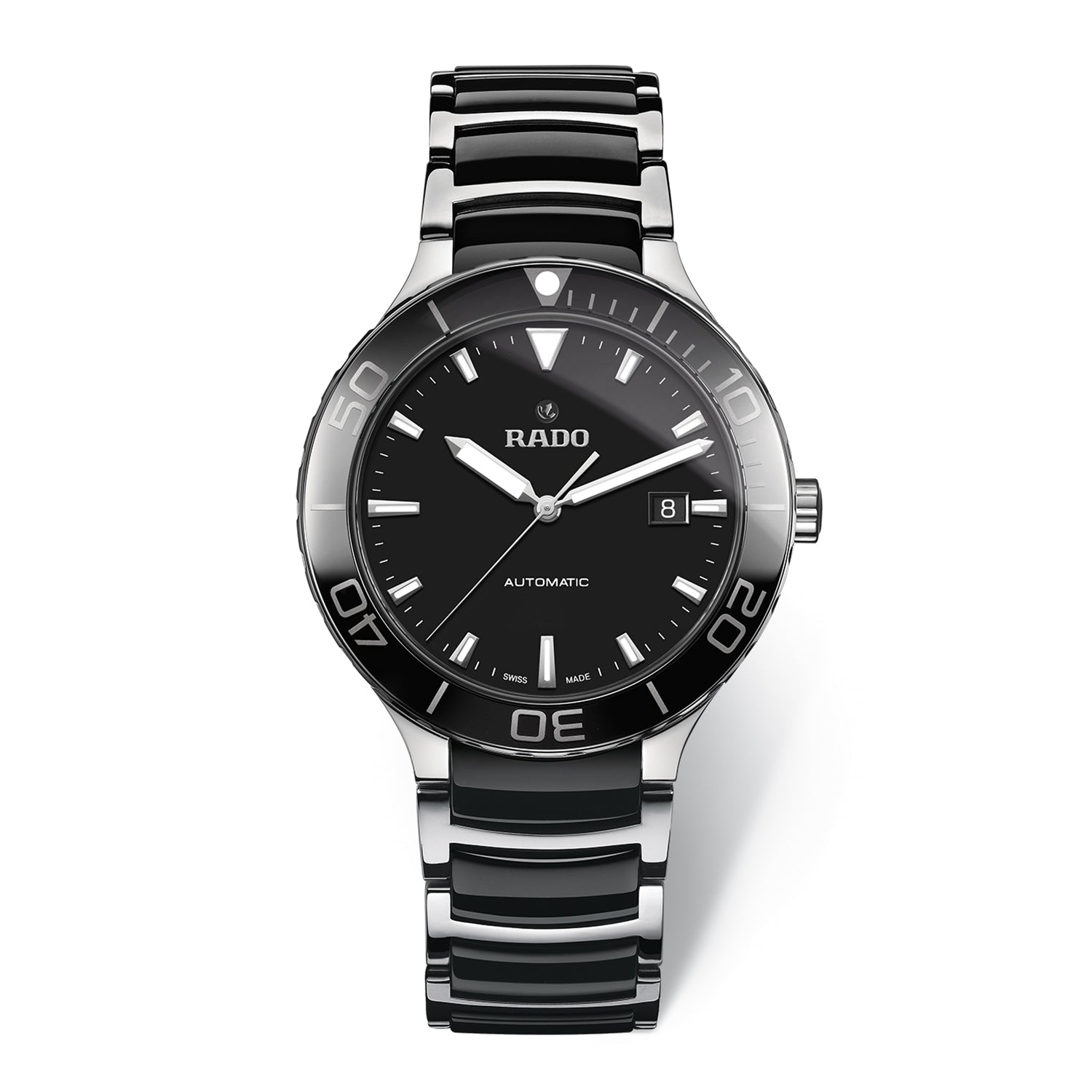 Rado Centrix XL watch, black dial with black turning bezel on stainless steel bracelet with black high-tech ceramic middle links