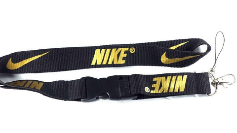 Nike Lanyard with Logo Key Chain Clip with Webbing Strap Quick Release Buckle (Black & Gold) - Wish Bids