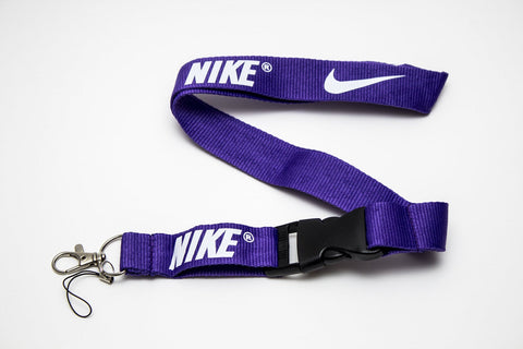 Nike Lanyard with Logo Key Chain Clip with Webbing Strap Quick Release Buckle (Purple & White) - Wish Bids