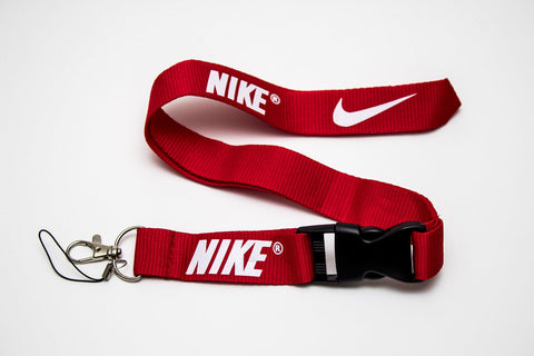 Nike Lanyard with Logo Key Chain Clip with Webbing Strap Quick Release Buckle (Red & White) - Wish Bids