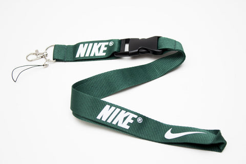 Nike Lanyard with Logo Key Chain Clip with Webbing Strap Quick Release Buckle (Dark Green & White) - Wish Bids