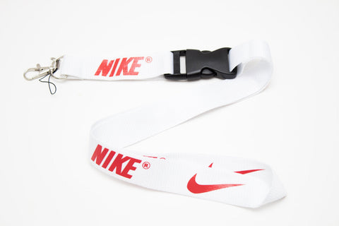 Nike Lanyard with Logo Key Chain Clip with Webbing Strap Quick Release Buckle (White & Red) - Wish Bids