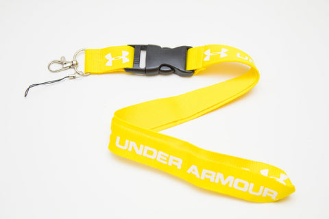 Underarmour Lanyard with Logo Key Chain Clip with Webbing Strap Quick Release Buckle (Yellow & White)