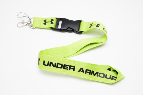 Underarmour Lanyard with Logo Key Chain Clip with Webbing Strap Quick Release Buckle (Lime Green & White)