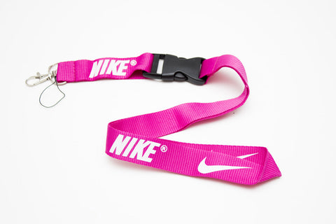 Nike Lanyard with Logo Key Chain Clip with Webbing Strap Quick Release Buckle (Magenta & White) - Wish Bids