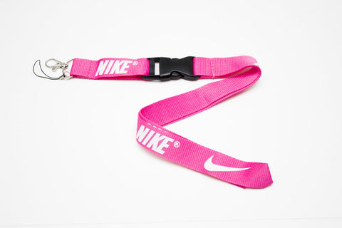 Nike Lanyard with Logo Key Chain Clip with Webbing Strap Quick Release Buckle (Pink & White) - Wish Bids