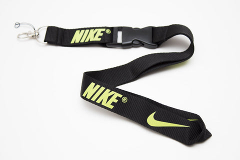 Nike Lanyard with Logo Key Chain Clip with Webbing Strap Quick Release Buckle (Black & Lime Green) - Wish Bids