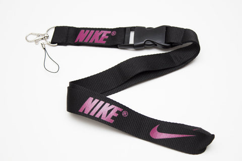 Nike Lanyard with Logo Key Chain Clip with Webbing Strap Quick Release Buckle (Black & Magenta) - Wish Bids