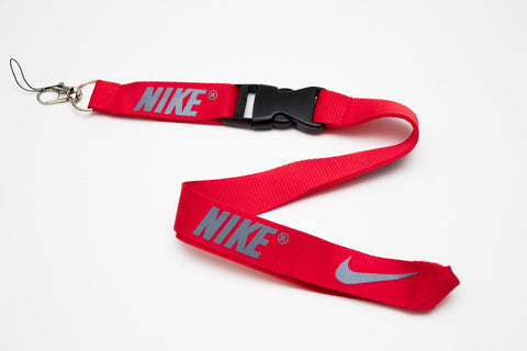 Nike Lanyard with Logo Key Chain Clip with Webbing Strap Quick Release Buckle (Red & Grey) - Wish Bids