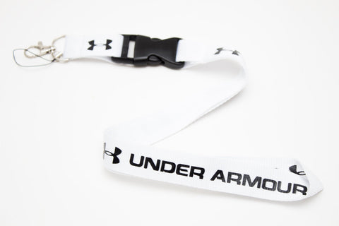 Underarmour Lanyard with Logo Key Chain Clip with Webbing Strap Quick Release Buckle (White & Black)