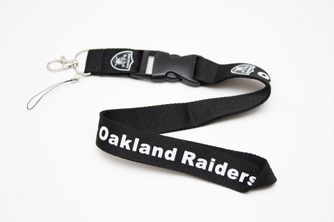 Oakland Raiders Lanyard with Logo Key Chain Clip with Webbing Strap Quick Release Buckle (Blue & White) - Wish Bids