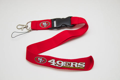 San Francisco 49 ers Lanyard with Logo Key Chain Clip with Webbing Strap Quick Release Buckle (Blue & White) - Wish Bids