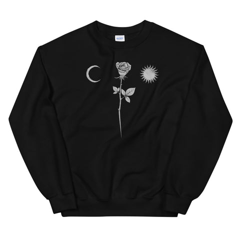 Occult Gothic Moon Rose Grunge Satan Devil Black Punk Witch design Unisex Sweatshirt