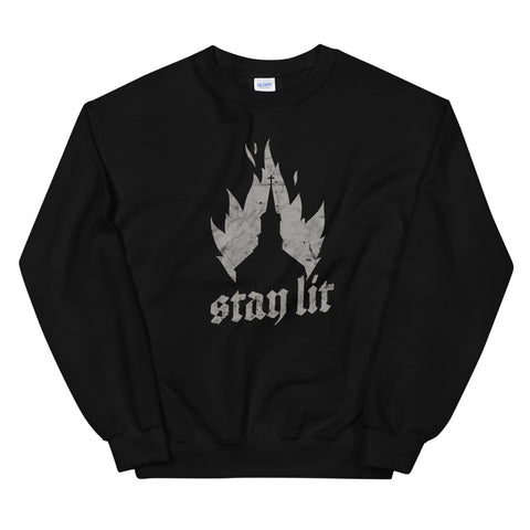 Occult Burning Church - Unholy Satanic Devil Death design Unisex Sweatshirt