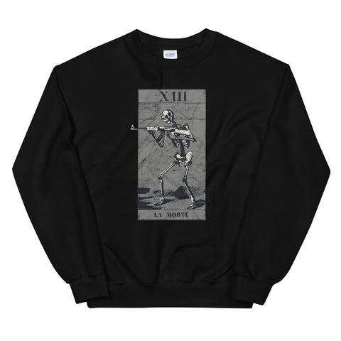 Occult The Death Tarot Card Assault Rifle XIII La Mort Tod design Unisex Sweatshirt