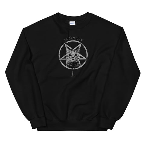 Occult Gothic Grunge Satan Cat Devil Black Baphomet Punk 666 design Unisex Sweatshirt