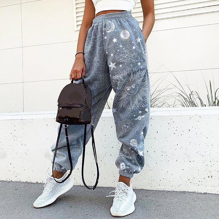 Ladies casual retro sun starry sky print loose fitness sweatpants trousers