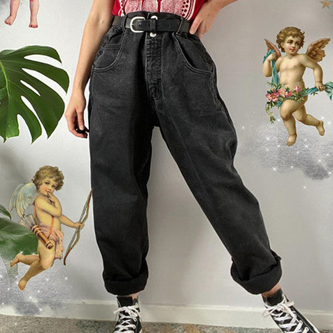 Vintage Casual Solid Color Denim Trousers