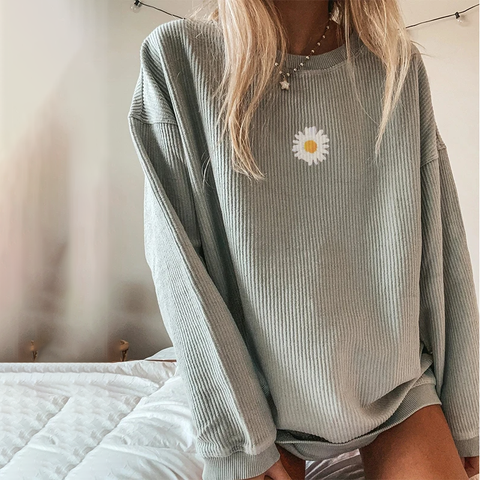Casual Solid Floral Printed Long-sleeved Sweatershirt