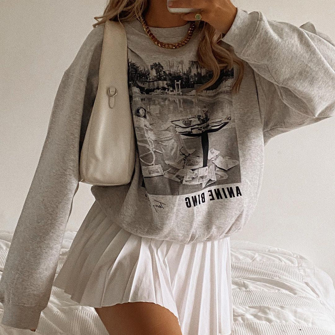 Modern Printed Color Long Sleeve Sweatshirt