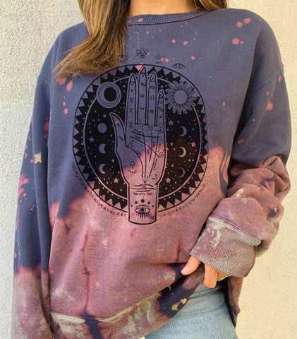 Tie-dye printed casual round neck ladies sweater