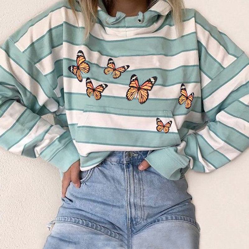 Casual Butterfly Print Striped Sweatshirt