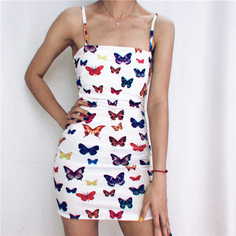 Fashion - the new sexy and stylish butterfly print a-line dress for 2020