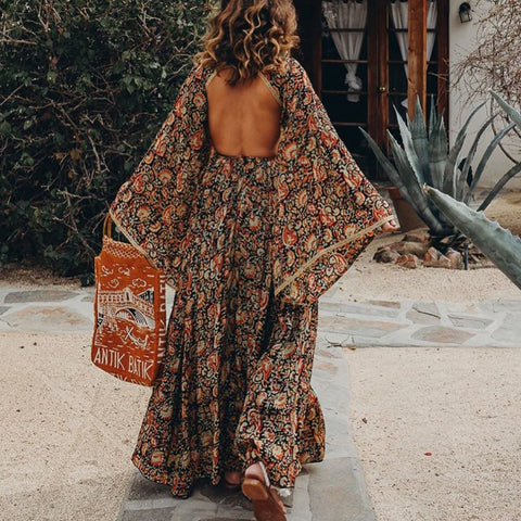 Round neck fashion print halter maxi dress