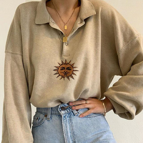 Sun print long sleeve sweatshirt