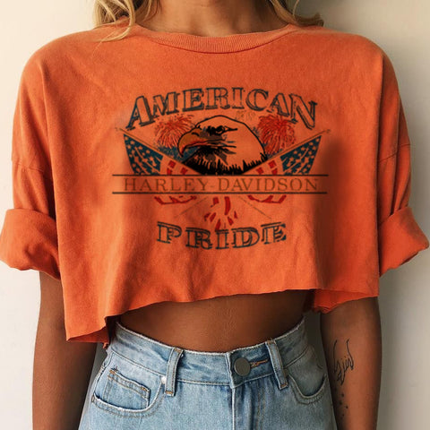Women's Casual Daily Eagle Letter Print Short T-shirt Top