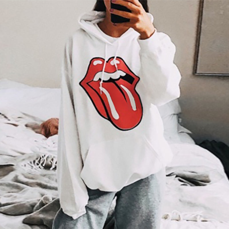 Fashion Long Sleeve Printed Colour Loose Hoodie
