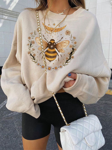 Vintage Print Basic Loose Long Sleeve Sweatshirt