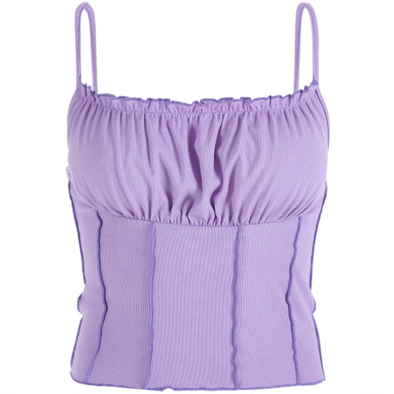 Fashion - summer new style women's clothing color contrast fit - all - round halter vest wear