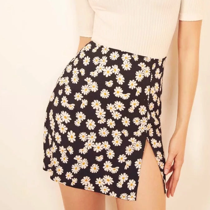 New Floral Floral Daisy Side Split Skirt