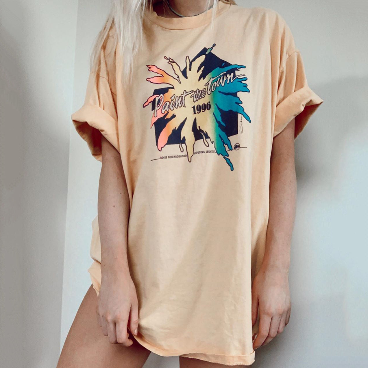 Casual printed short sleeve loose long T-shirt