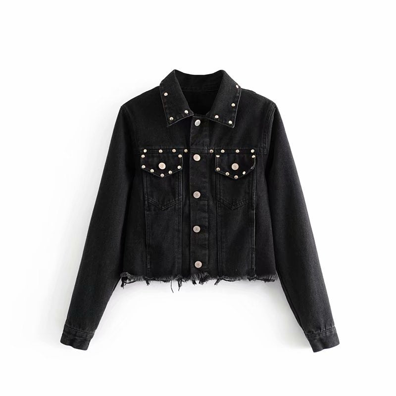 Denim jacket with ripped studded belt