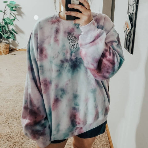 Basic casual tie-dyed embroidery graphic pullover sweatshirt