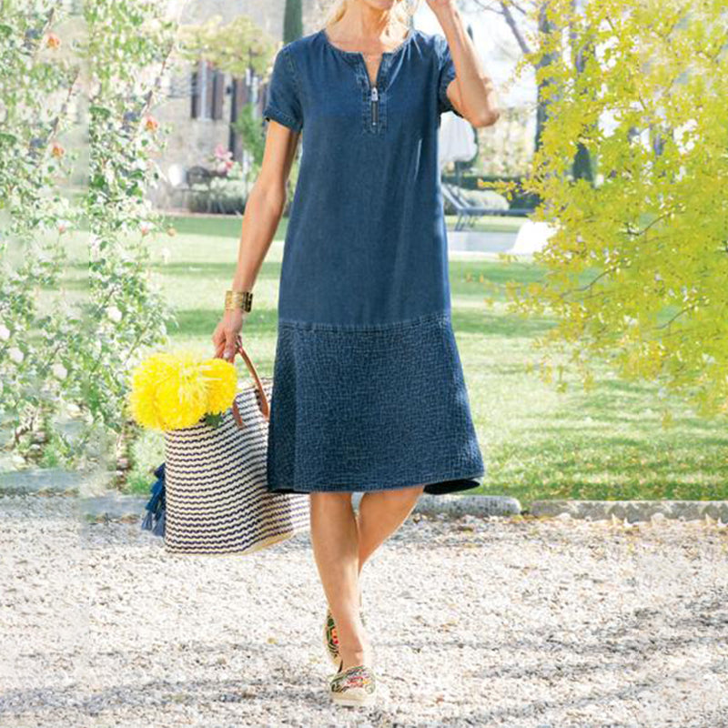 Zipped straight denim dress